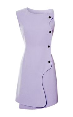 Isla Snap-Front Crepe Dress by Opening Ceremony $435 -   This retro-inspired look from Opening Ceremony takes mod to the modern world. Crafted in New York, its ladylike lavender hue furthers its femininity in oversized asymmetrical detailing to show your most sophisticated creative side.