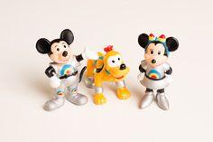 Vintage Disney Epcot PVC Figures Mickey Mouse, Minnie & Pluto, 1980s, Tomorrowland Space