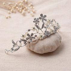HG021 Floral Crystal Rhinestone Pearl Tiara Crown Wedding Prom Party Bridal  Tiara 4a5d37199a9f