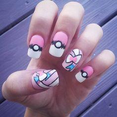 Pokemon Sylveon pastel fake handpainted nails