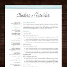 Resume Template | Professional Resume Design + Free Cover Letter / MS Word Template