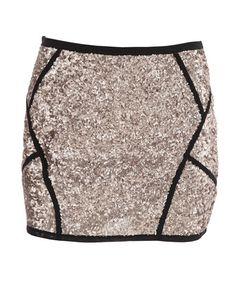 Golden Spliced Mini Skirt