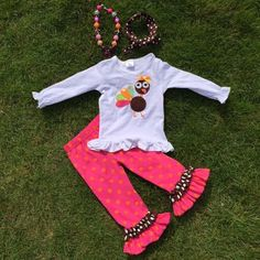 Thanksgiving Little Turkey Hot Pink Polka Dot 2 PC Girls Boutique Outfit Clothing Set Baby Girl Toddler Holiday Turkey Fall-Preorder by SwankyDudzBoutique on Etsy