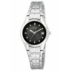 Citizen Women's Eco-Drive Stainless Steel Watch w/ Black Dial