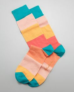 Colorblock Stripes Men\'s Socks, Peach by Arthur George by Robert Kardashian at Neiman Marcus.