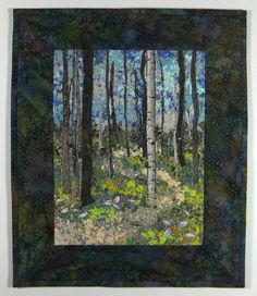 Fiber Art Quilt  Woodland Trail  Confetti   Wall Hanging