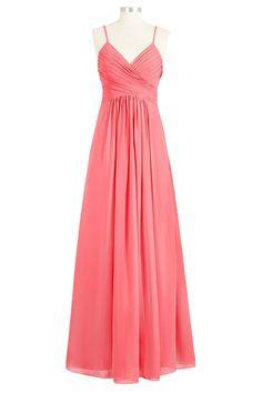 512fb326f0 Tivansi Women s Long Spaghetti Chiffon V-Neck Bridesmaid Dresses -- Visit  the image link