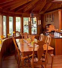 love everything about this diningroom, the windows, the ceiling and especially this pass-thru into the kitchen