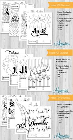 So many cute pages! Bullet journal mood trackers for every month. Printable bujo monthly mood trackers. Planner inserts instant download. Journal pages A5, A4, Half Page #affiliate #moodtracker #bulletjournalcollection #bujoprintables #planneraddict