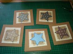 Star cards Christmas Applique, Christmas Sewing, Christmas Embroidery, Handmade Christmas, Fabric Cards, Fabric Postcards, Paper Cards, Homemade Christmas Cards, Christmas Cards To Make