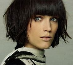 We've got lots of pictures of Layered Hair for every hair type. Looking for a sexy head turning look? Try Layered Hair Cuts. Haircut For Thick Hair, Short Hair With Bangs, Short Hair With Layers, Short Hair Cuts, Short Hair Styles, Messy Layers, Straight Bangs, Full Bangs, Long Hair