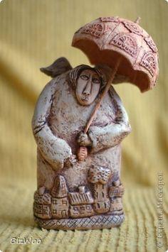 Поделка изделие Лепка Папье-маше Роспись Ангел-хранитель Бумага Краска Проволока фото 1