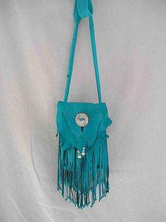 turquoise fringed leather bag on Etsy, £30.86