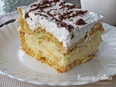"Bucataria Stefaniei: Tort ""Ecler"" cu mascarpone si vanilie Vanilla Cake, Tiramisu, Caramel, Deserts, Pie, Ethnic Recipes, Mascarpone, Sticky Toffee, Torte"