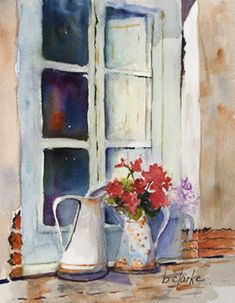 watercolor painting of two pitchers in window Barb Clarke Watercolor Artists, Watercolor Illustration, Watercolour Painting, Watercolor Flowers, Painting & Drawing, Watercolours, Watercolor Architecture, Window Art, Painting Inspiration