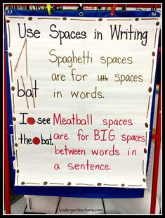 Several lesson ideas and anchor charts to use when Teaching Kindergartners How to Write a Sentence. Uses the gradual release model to full implication. Kindergarten Anchor Charts, Writing Anchor Charts, Kindergarten Writing, Kindergarten Teachers, Teaching Writing, Writing Activities, Teaching Ideas, How To Teach Writing, Primary Teaching