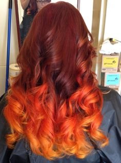 """The hair color I got today, my stylist was inspired by flame and came up with what she calls """"Fire Ombre"""""""