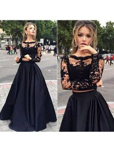 Black Tulle Elastic Woven Satin Appliques Lace Elegant Long Sleeve Two Piece Prom Dress CA$178.99