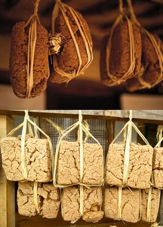 Meju (Korean: 메주), Soybean malt: Lumps of soybean malt are hung from the eaves to dry.