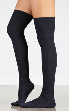 Over The Knee Cable Knit Socks