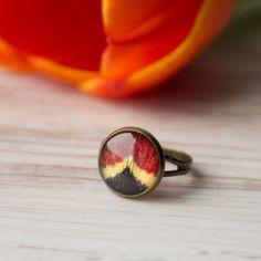 Real tulip resin ring. Red tulip. Nature inspired rings. Resin ring