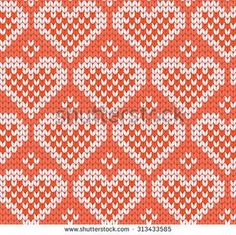 knitted seamless pattern hearts