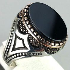 K14 38 Turkish Ottoman Style 925 Sterling Silver Agate Stone Men Ring Sz 11 75 | eBay