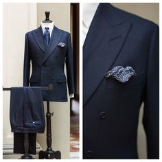 The Anderson & Sheppard suit in navy flannel has the house's distinctive belly to the lapel, although as a keen-eyed reader noted, also less drape than commonly.  The trousers have the side fastener on the seam rather than waistband, as I've previously noted I prefer, and the mother-of-pearl button that A&S always uses on its rear trouser pockets. @andersonandsheppard #bespoke #menswear #menstyle #savilerow #symposium @vitalebarberiscanonico1663 @stefanobemer