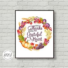 Thanksgiving Wall Art Fall Printable Home Decor Watercolor Wreath Thanksgiving Quote November Printable Digital Download JPG PDFWA101