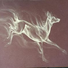 Testing some new paper with a Patronus #pastel #pastels #patronus #doe #deer #artist #harrypotter #potterhead #snape #stag #animalart