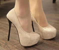 Sexy and popular in west stars pretty high thin heel pumps Z0195 golden