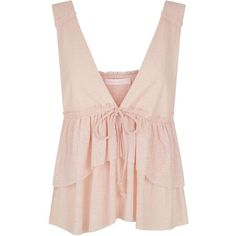 See by Chloé Tiered Ruffle Plunge Top  Harrods.com ❤ liked on Polyvore featuring tops, pink top, plunge tops, see by chloé, see by chloe top and layered ruffle top