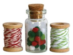 Deja Views - C-Thru - Little Yellow Bicycle - Wonder Wishes Collection - Christmas - Mini Pom Poms and Twine Spools at Scrapbook.com $4.49