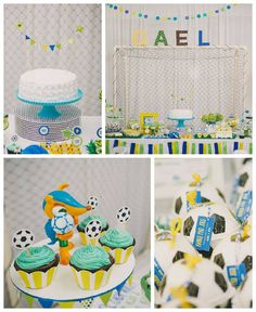 How fun is this Brazil + World Cup #soccer party featured on Kara's Party Ideas I love the colours combination