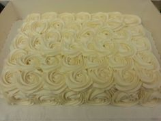 Rosette sheet cake this would be cute with pink and blue roses!