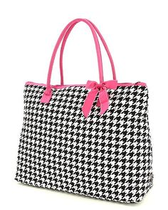 Quilted Monogrammed Houndstooth Bag - Quilted Large from the Palm Gifts. Monogrammed Bag  features High Quality monogram or name of your cho...