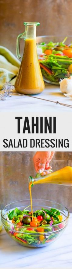Homemade tahini salad dressing is healthy and flavorful. Whip up this quick and easy recipe in five minutes flat. So delicious! It's a family favorite. Best Potluck Dishes, Potluck Recipes, Fall Recipes, Breakfast Recipes, Vegetarian Recipes, Easter Recipes, Summer Recipes, Delicious Recipes, Tasty