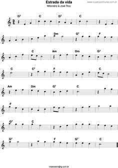 Página que contém a partitura da música Estrada Da Vida (José Rico, Milionário e José Rico). Guitar Strumming, Guitar Chords, Ukulele, Music Notes, My Music, Accordion Sheet Music, Violin Sheet Music, Music Writing, Kalimba