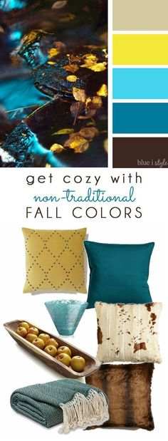 {decorating with style} Get Cozy with Non-Traditional Fall Colors: COZY FALL COLORS! A simple mood board to help you bring these non-traditional fall colors of brown, aqua, teal, and yellow into your home decor. Living Room Color Schemes, Living Room Colors, New Living Room, Colour Schemes, Color Palettes, Living Room Decor Yellow And Brown, Paint Palettes, Paint Schemes, Cozy Living