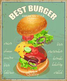 panini: Burger. Poster in stile americano tradizionale vecchio Vettoriali