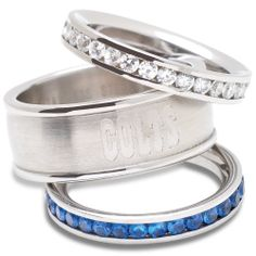 Logo Art Indianapolis Colts Ladies Spirit Crystal Stacked Ring Set is available now at FansEdge. Football Baby, Watch Football, Football Season, Indianapolis Colts, Stainless Steel Rings, Art Logo, Stacking Rings, Jewelry Sets, Bling