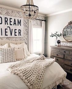 breanne shaw saved to Master Bedroom Bedroom, DIY Wallpaper, Cozy 29 Awesome Rustic Style Bedroom Decor Designs To Try For Your Cottage Farmhouse Master Bedroom, Cozy Bedroom, Home Decor Bedroom, White Rustic Bedroom, Cream And White Bedroom, Farmhouse Style Bedding, Master Bedroom Furniture Ideas, Tiny Master Bedroom, Plaid Bedroom