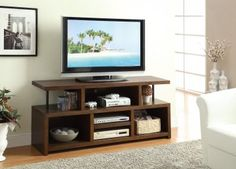 Wood TV Stand with Shelves at GoWFB.ca   FREE SHIPPING!   True Contemporary - Wood TV Stand with Open Shelves by True Contemporary