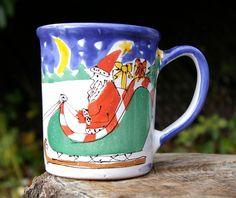 Pottery Barn Prancer Reindeer Christmas Coffee Mug White