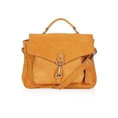 Topshop leather vintage-look satchel: A mustard suede satchel is one way to try the seventies trend, though this silhouette can be worn even after you decide to move on from the look.