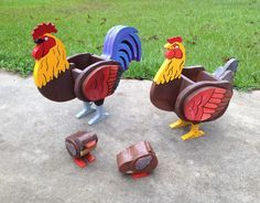 Wooden Animal Planters - Rooster, Chicken and Chicks by CutsNCrafts on Etsy