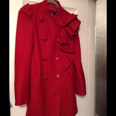 French Connection a Ruffle Coat French Connection a Ruffle Collar Coat : Red Cherry Tomato color.                           Material : 70% Virgin wool , 20% polyamide , 10% cashmere.                                     Button are red with gold rim.  Great condition. Lovely coat! French Connection Jackets & Coats Pea Coats