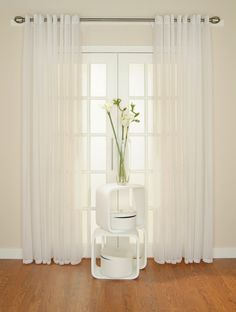 White bedroom curtains – Decorating your bedroom can be very fun and enjoyable. But what about those curtains? White Linen Curtains, Blue Drapes, Voile Curtains, Bedroom Curtains, Curtains Living, Casa Loft, Bright Homes, Custom Drapes, White Bedroom