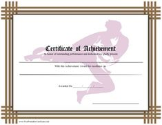 This brown-bordered certificate recognizes skill in karate or another martial art. Free to download and print