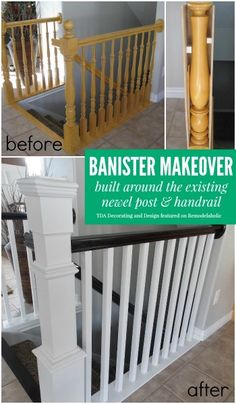 I'm so happy that I found these cheap DIY home improvements on a budget. Now I can finally make improvements and upgrades to my home for without breaking my budget. diy home improvement 20 DIY Home Improvements and Upgrades That Won't Break Your Budget Staircase Remodel, Staircase Makeover, Stair Case Railing Ideas, Stairway Railing Ideas, Bannister Ideas, Stair Banister, Banisters, Stair Risers, Railings For Stairs